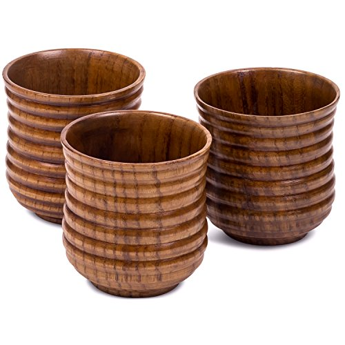 Small Wooden Cups 5.75 oz - Set of 3 - For drinking Tea, Coffee, Wine, Beer, Hot Drinks - Dark Ribbed Made Leather Single Wine