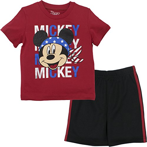 Disney Mickey Mouse Toddler Boys' T-Shirt and Mesh Short Set America, Red (4T)