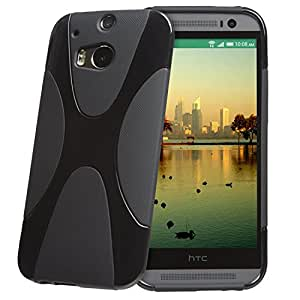 (Venta ahora) tinxi® Funda de silicona para HTC One M9 Caso de silicona TPU caso de la cubierta de la contraportada de silicona protectora caso bolsa negro fondo con X estilo