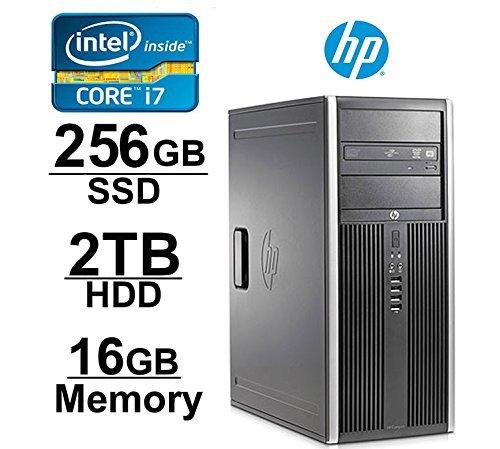 HP Elite 8200 Mini-Tower Workstation - Core i7 upto 3.8GHZNew 250GB SSD + 2TB HDD - 16GB RAM - WIFI - 1GB Video Card w/ HDMI - DVD-ROM - Windows 10 Pro 64-Bit - (Renewed)