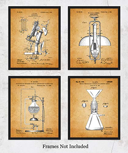 - Vintage Science Lab Equipment Patent Wall Art Prints: Unique Room Decor for Boys, Men, Girls & Women - Set of Four (8x10) Unframed Pictures - Great Gift Idea for Scientists, Inventors & Students!
