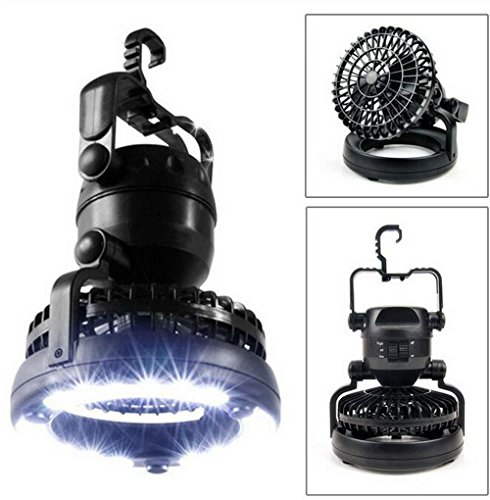 2 in 1 Portable 18 LED Tent Camping Light with Ceiling Fan Combo Outdoor Emergency Hiking Fishing Travel Lamps Lantern Hanging Chandelier Fan Lights Rotating Hook Lantern Lighting