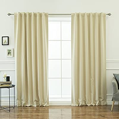 "Best Home Fashion Thermal Insulated Blackout Curtains - Back Tab/ Rod Pocket - Beige - 52""W x 84""L - (1 Panel) - Features an innovative triple weave fabric construction to block out sunlight and harmful UV rays. Insulates against the heat and cold, saving you money & energy. Laboratory-tested innovative fabric construction that insulates against the cold. Energy efficient, insulation, noise reduction, improve sleep, high quality. Header Size: 0.5 inches / Hem Size: 2 inches - living-room-soft-furnishings, living-room, draperies-curtains-shades - 51cP4R4RFuL. SS400  -"