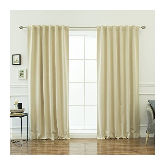 "Best Home Fashion Thermal Insulated Blackout Curtains - Back Tab/Rod Pocket - Beige - 52"" W x 84"" L - (1 Panel) - Features an innovative triple weave fabric construction to block out sunlight and harmful UV rays. Insulates against the heat and cold, saving you money & energy. Laboratory-tested innovative fabric construction that insulates against the cold. Energy efficient, insulation, noise reduction, improve sleep, high quality. Header Size: 0.5 inches / Hem Size: 2 inches - living-room-soft-furnishings, living-room, draperies-curtains-shades - 51cP4R4RFuL. SS570  -"