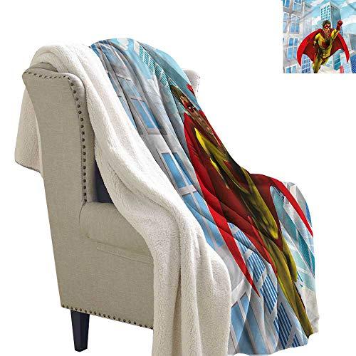 Acelik Flannel Double Blanket Superhero Masked Hero Flying City Gift Throw Blanket for Women Men W59 x L78 ()