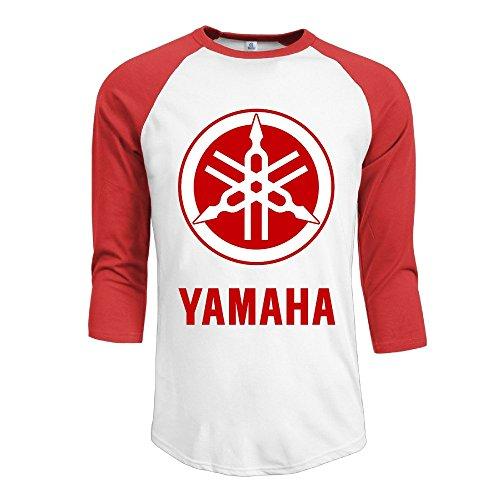 Price comparison product image HOTOU Men's Yamaha Logo Baseball 3 / 4 Sleeve Tee Red