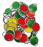 Amram Key Tags 1.25-in Diameter, Assorted Colors, Metal Rim and Split Key Ring, 50 Pieces