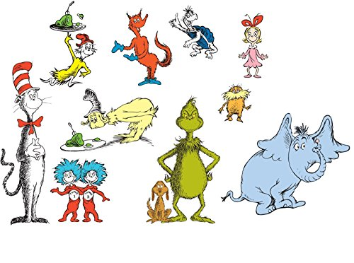 Dr Seuss Room Decor - Removable Wall Decorations (Grinch Stickers)