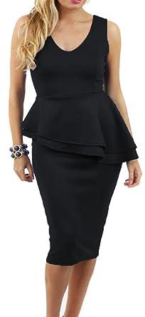 Women/'s Double Peplum Side Slanted Frill Sleeveless Ladies Bodycon Party Dress