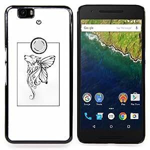 Stuss Case / Funda Carcasa protectora - Mariposa mítico cartel blanco del arte - Huawei Google Nexus 6P