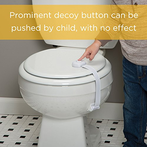51cP4zYsRzL Safety 1st OutSmart Toilet Lock, White    Curious kids try to explore everywhere, but the Safety 1st OutSmart Toilet Lock helps you keep them safer with the first ever decoy button. Your child will think the decoy button will let them open the toilet, but pushing it has no effect. You'll know that the surface on the sides hides the actual secret to opening the lid. The OutSmart Toilet Lock installs easily and the strap detaches for periods of non use.