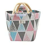 KFSO Lunch Bag Clearance Sale! Color Blocked Triangle Printed Tin Foil Thermal Insulated Lunch Box Tote Cooler Bag Bento Pouch Lunch Container (A)