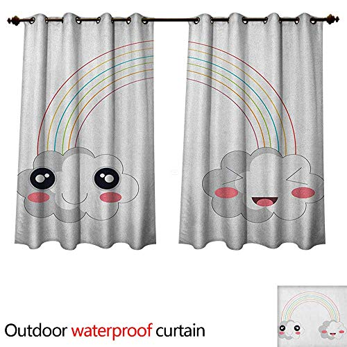 Anime Outdoor Curtains for Patio Sheer Two Clouds and a Rainbow Happy Face Expressions Japanese Design for Kids Nursery W84 x L72(214cm x 183cm)