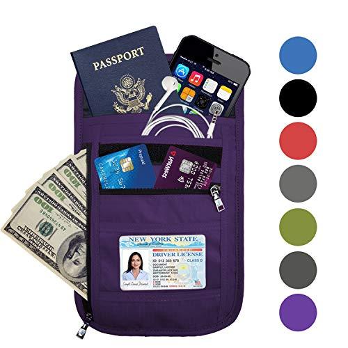 OMYSTYLE FASHION RFID Blocking Travel Passport Holder Neck Pouch Wallet for Men & Women, Purple