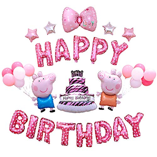 Girls Birthday Party Decorations Pink Happy Birthday Cakes Balloons Cute Pig Theme Party Balloon Decor -