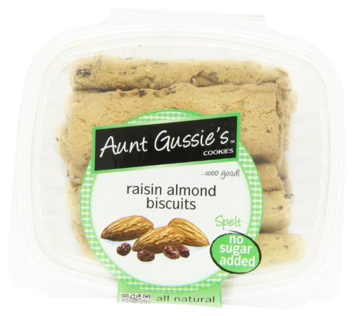 Aunt Gussie's No Sugar Added Raisin Almond Biscotti, 8-Ounce Tubs (Pack of 4) (Spelt Raisin)