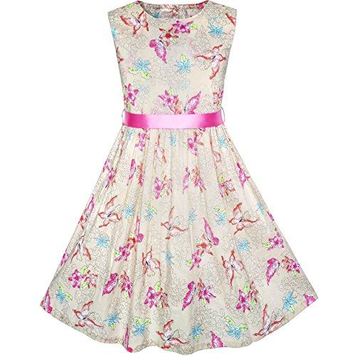 KM55 Girls Dress Butterfly Summer Beach Party Satin Belt Size - Butterfly Fashion