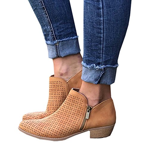 Ermonn Womens Closed Toe Faux Leather Side Zip Chunky Block Low Heel Ankle Booties Yellow
