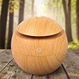 FG Essential Oil Diffuser Humidifier Wood Grain USB Color Changing 130ml Diffuser Cool Mist Humidifier Mist Purifier for Home