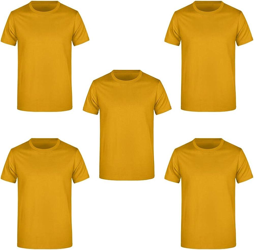 Guuja Pack de 5 Camisetas de Hombre para Impresión y Bordado Camisa básica hasta XXXXXL 5XL: Amazon.es: Ropa y accesorios