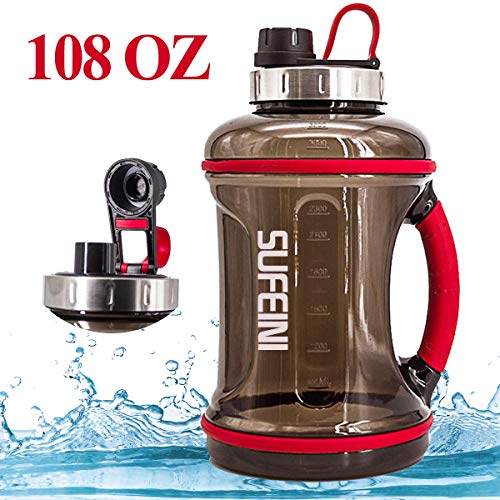 SUFEINI Gallon Large Water Bottle with Time Marker- BAP Free Motivational Water Bottle 108 0Z, Leak-Proof, Wide Mouth,Tracking Scale, Daily Water Intake for Fitness Sports Work