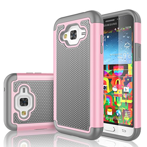 Galaxy Sky Case, J3 /J3 V Case, Galaxy Sol Case, Tekcoo [Tmajor Series] [Baby Pink] Shock Absorbing Hybrid Rubber Plastic Defender Rugged Hard Case Cover for Samsung Galaxy Amp Prime/Express Prime