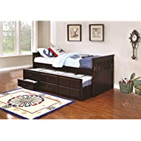 Coaster La Salle Collection 300106 Twin Size Captains Bed with Trundle Storage Drawers Simple Slatted Ends and Solid Wood Construction in Cappuccino