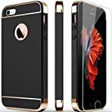 iPhone 5S Case, iPhone 5 Case, iPhone SE Case, COOLQO 3in1 Ultra-thin Hard Matte Finish Plastic [Tempered Glass Screen Protector] Shockproof Electroplate Cover Skin for Apple iPhone 5SE (Black)