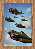 Ambesonne Airplane Area Rug, Fighter Aircrafts Up in Air Flight Machinery Wings Illustration Technology, Flat Woven Accent Rug for Living Room Bedroom Dining Room, 4 X 5.7 FT, Blue Green Grey