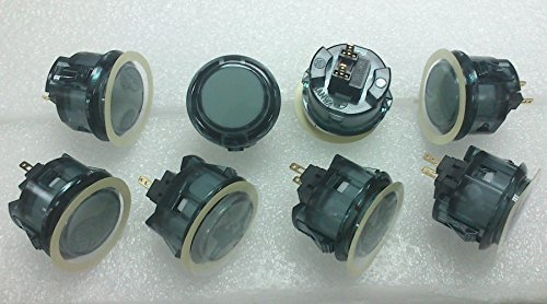 8pc Set of Sanwa OBSC-30-CS Clear Smoke Arcade Push Buttons
