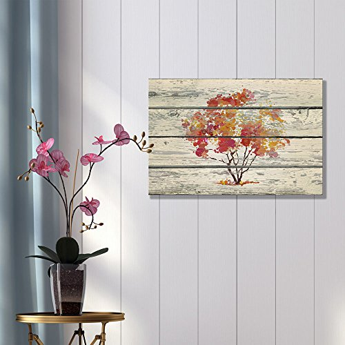 Abstract Art Water Color Style Tree on Vintage Wood Background Rustic ation