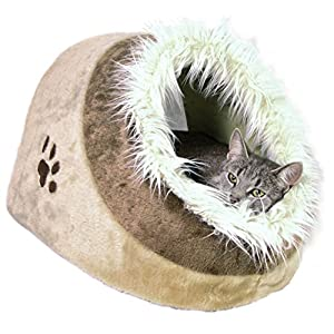 Trixie Cueva para Gatos Suave – Cama Gatos Accesorios para Gatos Casas para Gatos Gatera Minou, 41x30x50 cm, Beige…