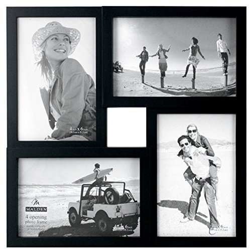 Malden International Designs Puzzle Collage Picture Frame, 4 Option, 4-4×6, Black