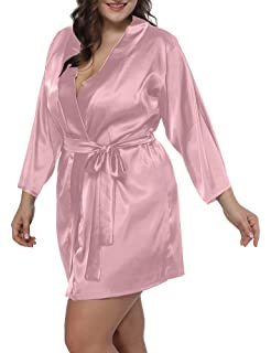 253ae55bc1 Allegrace Women Plus Size Satin Wrap Front Kimono Robes Short Pajamas with  Belt
