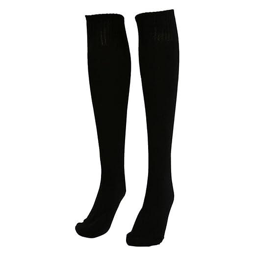Catnew Unisex Football Plain Long Sock Sport Knee High Soccer Stocks -Black ade73fcfa2