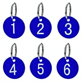 Aspire 50 Pack Numbered Tags with Key Ring Acrylic Tags for Organizing & Sorting Blue 1 to 50