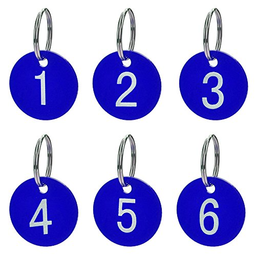 Aspire 50 PACK Numbered Tags with Key Ring - Acrylic Tags for Organizing and Sorting-Blue Round-1to50