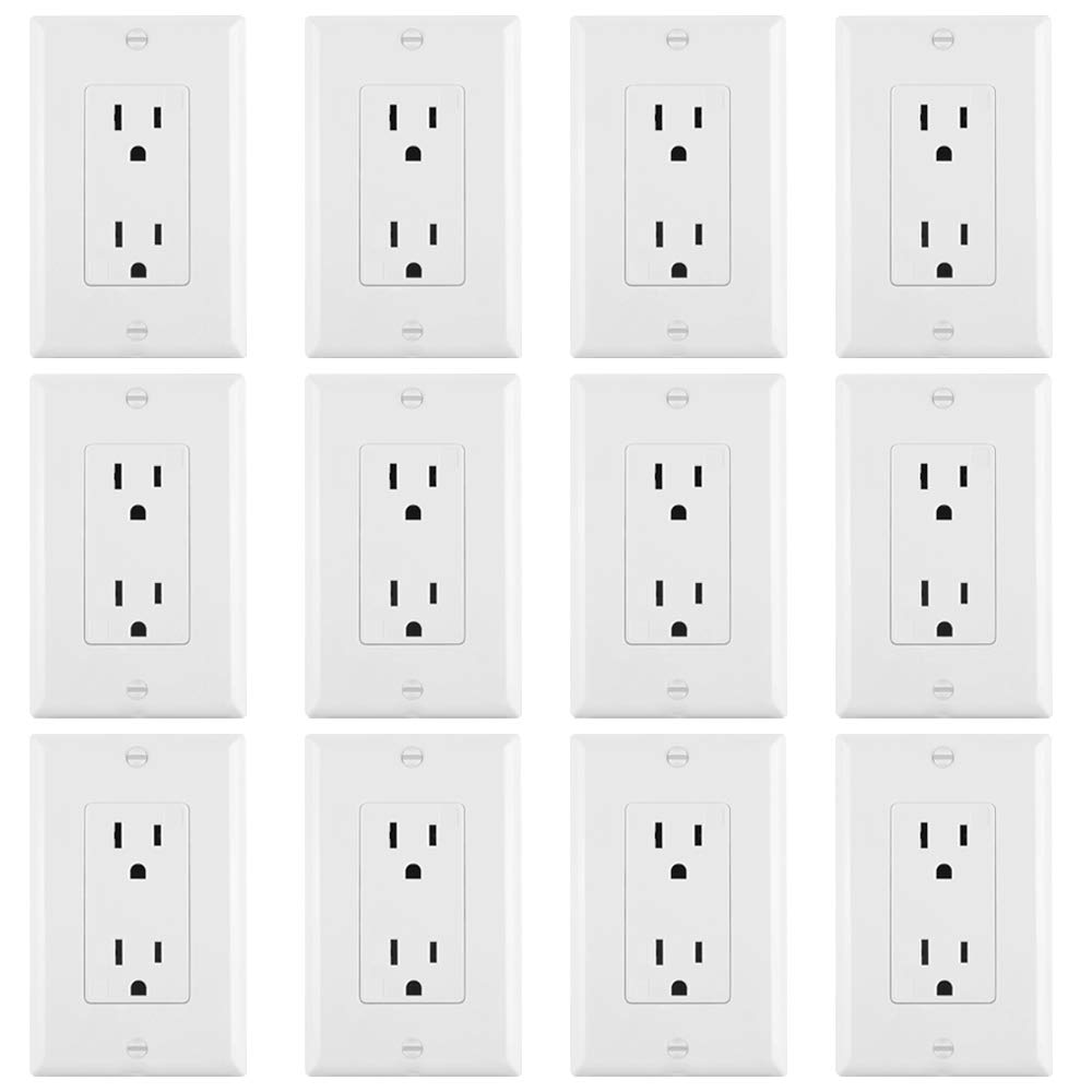 ELECTECK 15A Decor Outlet with Covers, 12 Pack, Electrical Duplex Receptacle with Wall Plates, Non-Tamper-Resistant, Residential and Commercial Grade, Self-Grounding, UL Listed, White