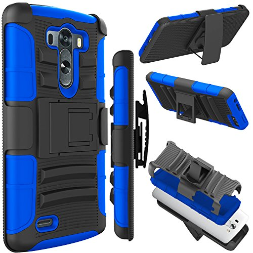 LG G3 Case (5.5 inch), Zenic(TM) Hybrid Dual Layer Armor Defender Full-body Protective Case Cover with Kickstand & Belt Clip Holster Combo for LG G3 (Dark Blue)