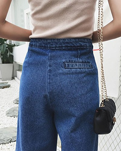 Blu2 Gamba Larghi A Alta Vita Casuale Denim Donna Flares Jeans Bootcut Pantaloni 6PqWBf4Aw