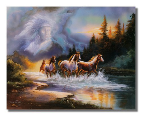 Fashion FreeZone Horse Runs In Lake With Indian Spirit Wall Picture 16 Art Print