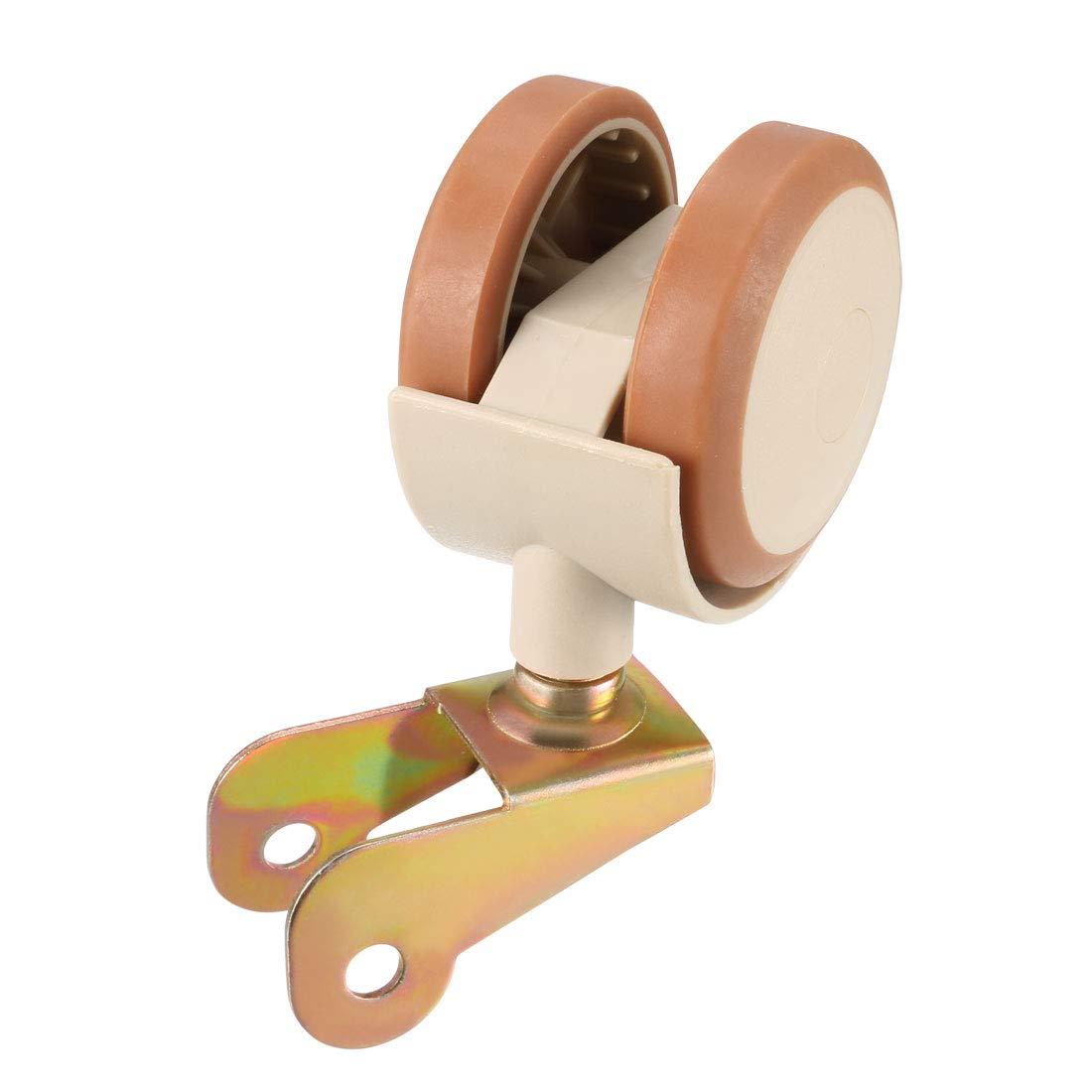 4pcs 1.85 Inch Swivel Caster Wheels U-Bracket Twin Wheel Brown with Brake