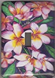 Plumeria Light Switch Plate - ''Plumeria''. Artwork by Candace Lee. Comes in single toggle, 2 toggle, 1 rocker, or 2 rocker.