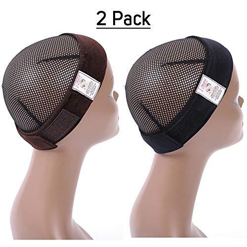 2-PACK Sekass Flexible Wig Grip Headband Velvet Wig Comfort Bands for Women Wig Head Hair Band Adjustable with 2 Wig Cap (Brown+Black)
