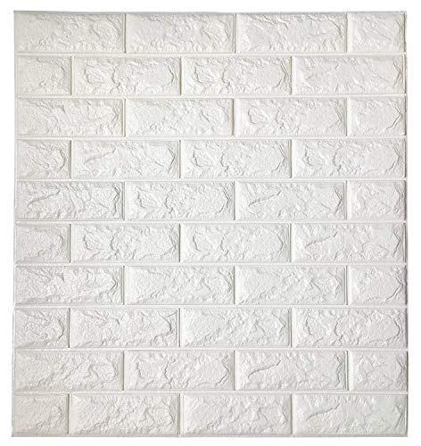 White 3D Self-Adhesive Wall Panels, 10 Pieces Brick Wall Sticker, Waterproof PE Foam 3D Wallpaper for Living Room, Background Wall and Office Decoration, 23.6'' x 23.6'' Inch. by Homewalldiy (Image #1)