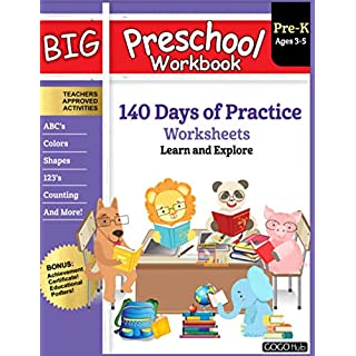 Big Preschool Workbook: Ages 3 - 5, 140+ Days of PreK Learning Materials, Fun Homeschool Curriculum Activities Help Pre K Kids Prep With Letter Tracing, Math Counting, Alphabet, Colors, Size & Shape