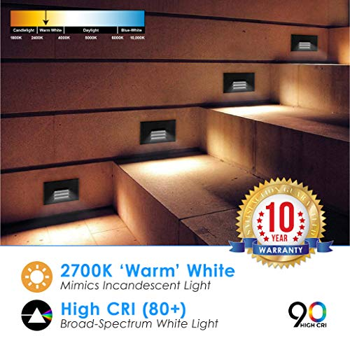 LED 2W Step Light Bronze Finish (24 Pack) Interchangeable Plate Flat Frosted (Horizontal Louver/Vertical Louver) 10 YR Warranty; Waterproof; Dimmable; 120V; 150 Lumnes (Soft White 2700K) by Quest LED (Image #2)