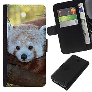 KLONGSHOP // Tirón de la caja Cartera de cuero con ranuras para tarjetas - Little Red Panda Bear Tree Face Tail Animal - LG OPTIMUS L90 //