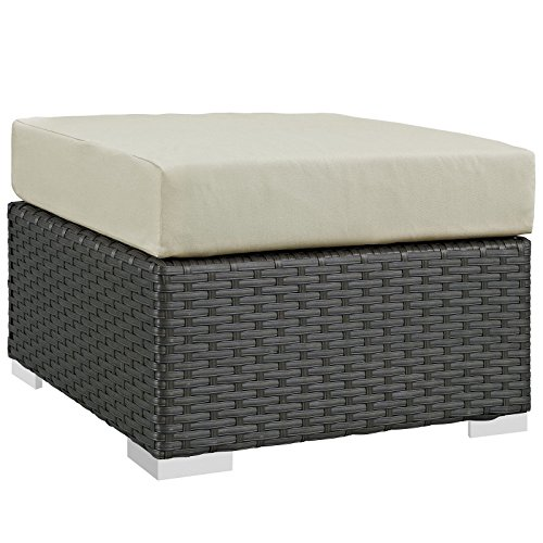 Modway Sojourn Outdoor Patio Rattan Ottoman With Sunbrella Brand Antique Beige Canvas Cushions