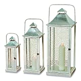 The Farmer's Market Tall Chicken Wire Candle Lanterns, Set of 3, White Washed Wood, Distressed Shabby Finish, Galvanized Metal, 3 Ft, 2 Ft 4, and 1 1/2 Ft High, By Whole House Worlds